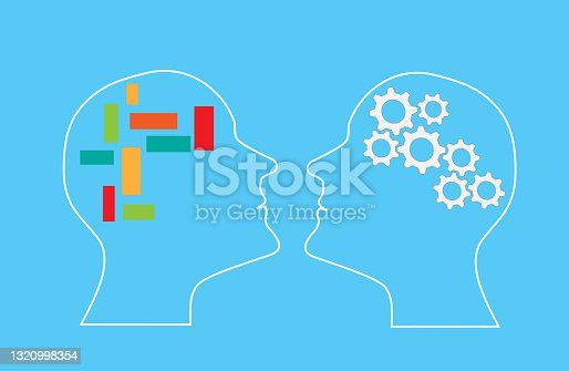 The concept of rational and irrational thinking of two people.Two different thought processes.