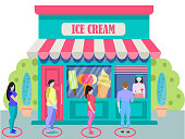The concept of social distance in the queue at the store. Line at store ice cream. Men and women in medical face mask buying groceries in shop. Keep safe distance. Vector illustration in flat style.