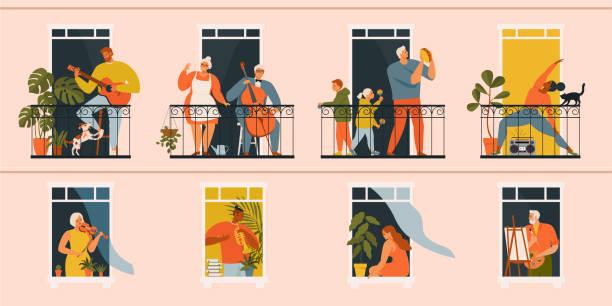 stockillustraties, clipart, cartoons en iconen met het concept van sociaal isolement tijdens de coronaviruspandemie. mensen die muziekinstrumenten, cello, gitaar, trompet, buden, viool spelen en yoga doen op balkons. blijf thuis in quarantaine. - buren