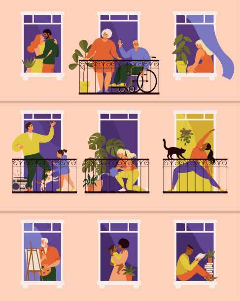 stockillustraties, clipart, cartoons en iconen met het concept van sociaal isolement tijdens de coronaviruspandemie. ramen met mensen in hun huizen. balkons met mensen tijdens quarantaine. blijf thuis. banner covid-19. - raam