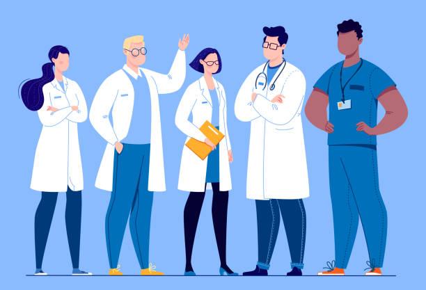 illustrations, cliparts, dessins animés et icônes de le concept de l'équipe médicale. - medecin covid