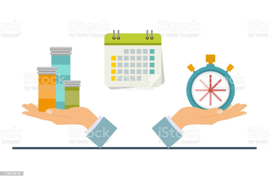 The concept of time and health, time to take medicine. Vector...