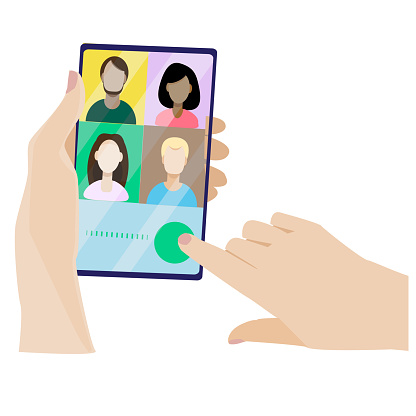 The concept of video chat. Modern vector illustration in flat style. Landing in video conference mode. People on the smartphone screen are talking to a colleague. Hand holding the phone.