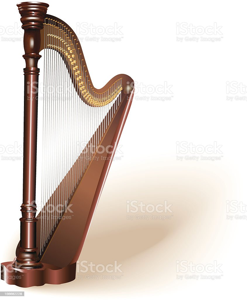 The concert harp. Isolated on white background vector art illustration