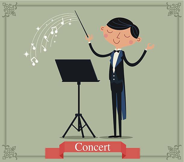 die conductor-illustration - bandleader stock-grafiken, -clipart, -cartoons und -symbole