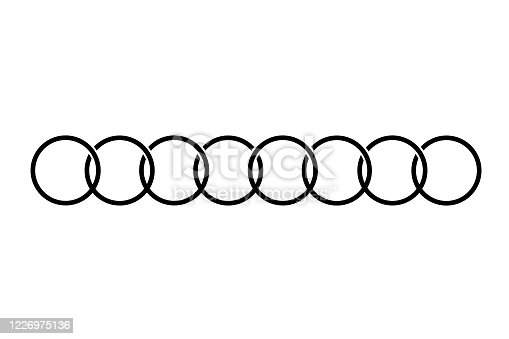 The connected circles are arranged in a row. Vector illustration Interlocking rings. Black icon circles, rings concept on white background.