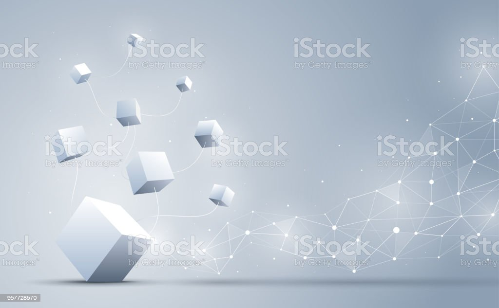 The connection cube with abstract geometric polygonal with connecting dots and lines. Abstract background. Blockchain and big data concept. Vector illustration. vector art illustration