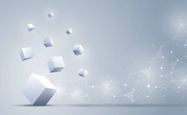 The connection cube with abstract geometric polygonal with connecting dots and lines. Abstract background. Blockchain and big data concept. Vector illustration. Abstract background. An illustration set for your web page, presentation, & design products. Fully scalable &  Vector illustration. Wallpaper, posters, banners, greeting card, wallpaper, flyers, invitation, brochure. banking backgrounds stock illustrations