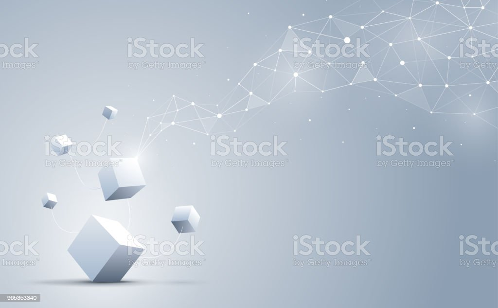 The connection of 3d cubes with abstract geometric polygonal with connecting dots and lines. Science and technology background. Big data and Internet. Abstract background. Vector illustration. the connection of 3d cubes with abstract geometric polygonal with connecting dots and lines science and technology background big data and internet abstract background vector illustration - stockowe grafiki wektorowe i więcej obrazów abstrakcja royalty-free