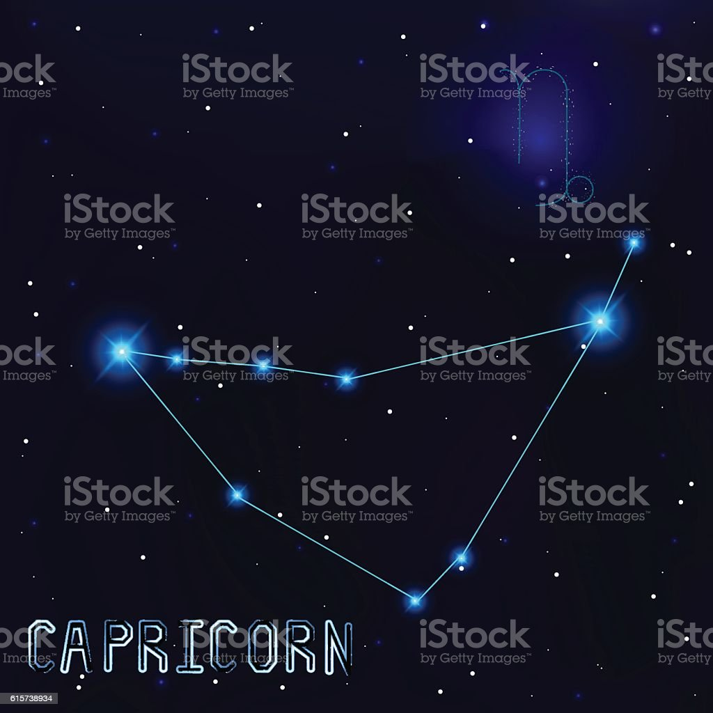 The Constellation Of Capricorn. Starry sky. Dark blue background vector art illustration