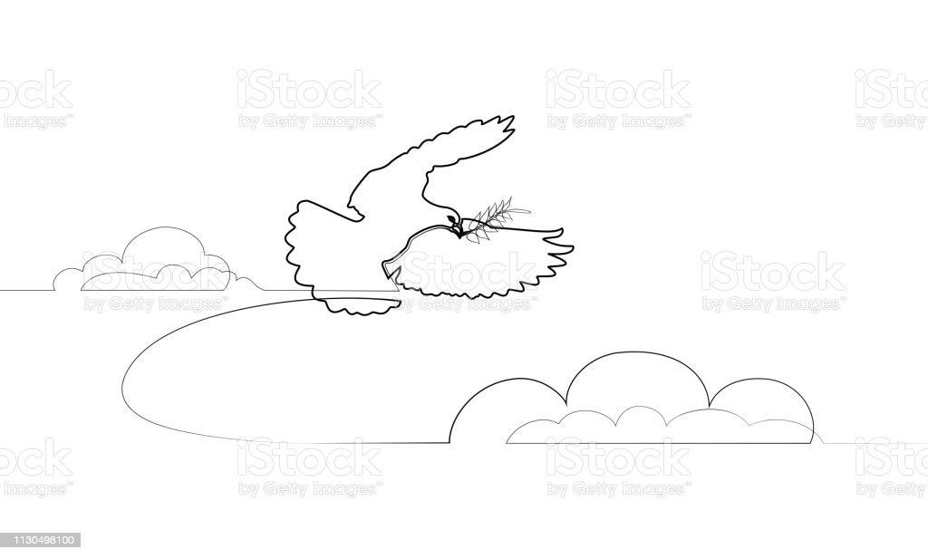 Ilustración De El Dibujo De Línea Continuado De Paloma Llevar Hojas De Rama Y Más Vectores Libres De Derechos De Abstracto