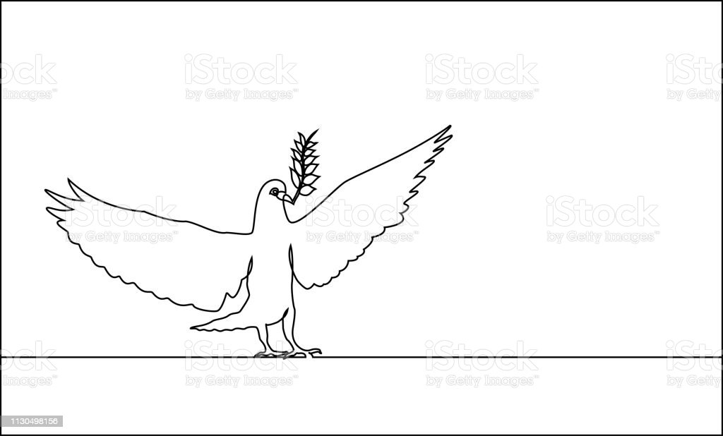The Continuous Line Drawing Of The Dove Carrying Leaves