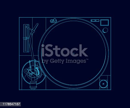 istock The contour of a vinyl player. View from above. Vintage vinyl record player. Vector illustration. 1178547157