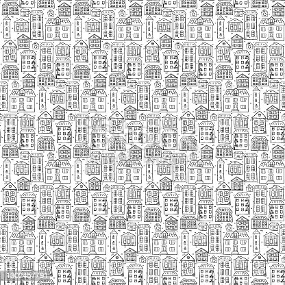 istock The contoured black and white houses in the city fit snugly against each other. For coloring and anti-stress. Seamless repeating pattern on a white. 1302457791