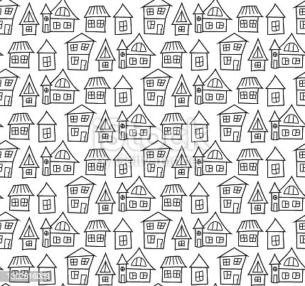 istock The contoured black and white low houses in the city are close to each other. For coloring and anti-stress. Seamless repeating doodle pattern on a white. 1302616039