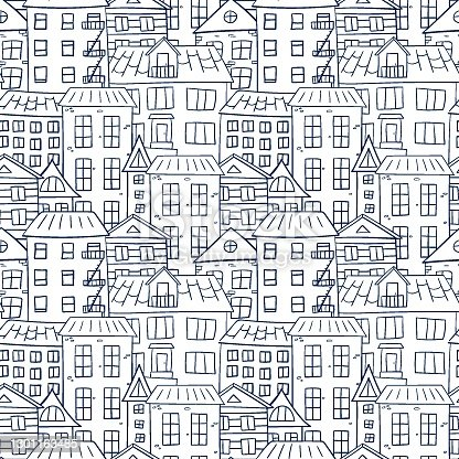 istock The contoured blue houses in the city sit tightly together. For coloring and anti-stress. Seamless repeating pattern. Doodle. 1301163485