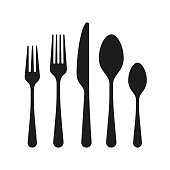 istock The contours of the cutlery. Spoon, knife, forks 1138879624