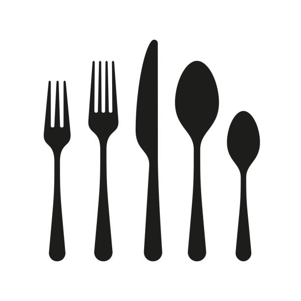 The contours of the cutlery. Spoon, knife, forks The contours of the cutlery. Spoon, knife, forks fork stock illustrations