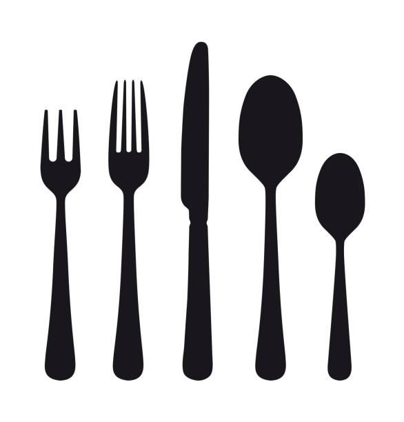 die konturen des bestecks. löffel, messer, gabeln. - tafelbesteck stock-grafiken, -clipart, -cartoons und -symbole