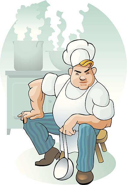 ilustraciones, imágenes clip art, dibujos animados e iconos de stock de the cook - busy restaurant kitchen