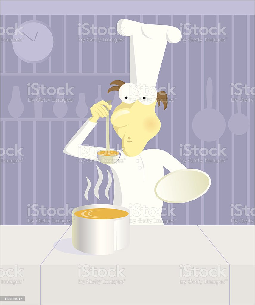 The cook with a soup royalty-free stock vector art