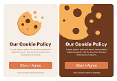 The cookie pop up set for web design. Flat vector design illustration. Useful for web design pop ups and other elements.