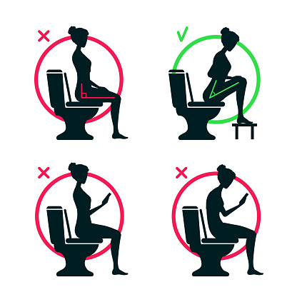 The correct and incorrect body posture of sitting on the toilet in the WC. The torso position angle 90 or 35 degrees. Good and bad. A right comfort posture. Comparison.