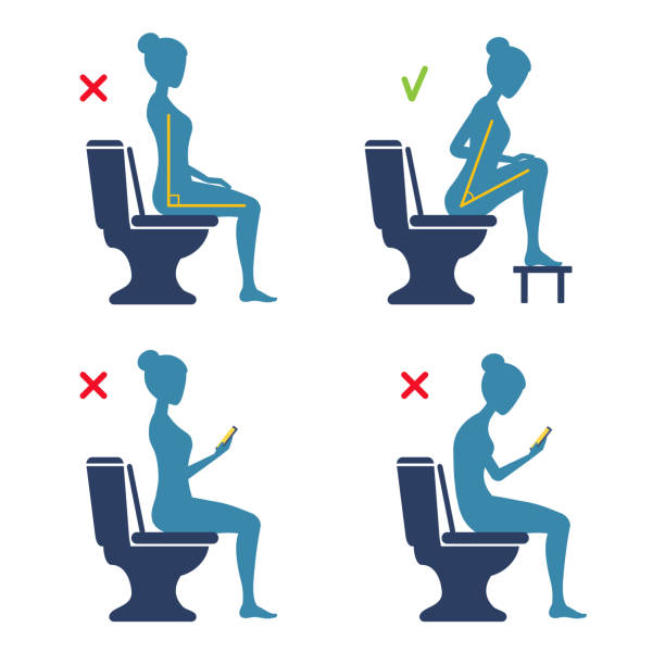 The correct and incorrect posture of sitting on the toilet in the WC. The torso position angle 90 or 35 degrees. Good and bad. Comfort posture, health care. Woman silhouette hunched with a smartphone. A vector cartoon illustration. right angle stock illustrations