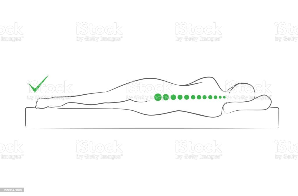 The correct spine alignment when sleeping. vector art illustration