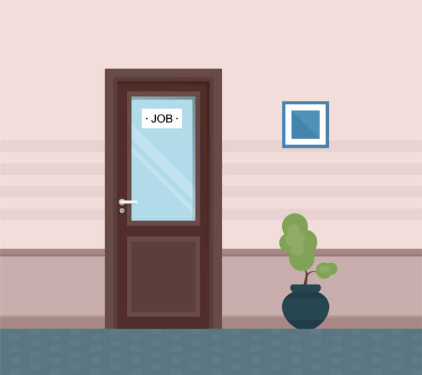 The corridor is pink in color, with decoration . Vector illustration. The corridor is pink, decorated with a decorative plant and a picture. Vector illustration. vehicle door stock illustrations