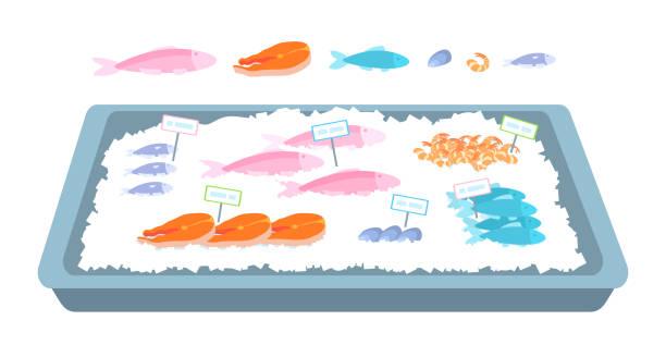 illustrazioni stock, clip art, cartoni animati e icone di tendenza di the counter with seafood on the ice. - banchi di pesci