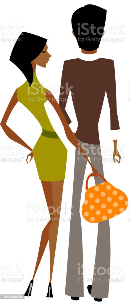 The couple are standing royalty-free stock vector art