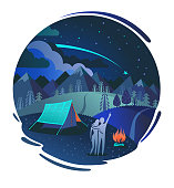 The couple in love looking at the night sky with falling star. Vector background with camping, fire, forest, mountains and valleys. Cute romantic cartoon travel poster, print, label or card.