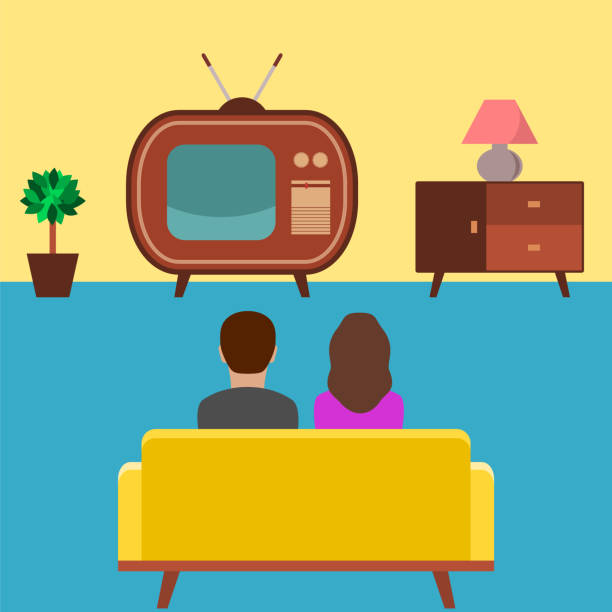 The couple is sitting on the couch and watching a vintage tv (room decorated in fifties style). Old tv with an analog antenna. Watching news, movies, tv shows,concept. Vector illustration,flat style. family watching tv stock illustrations