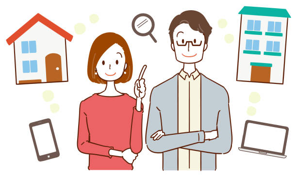 レジデンスにカップル プラン - 夫婦点のイラスト素材/クリップアート素材/マンガ素材/アイコン素材