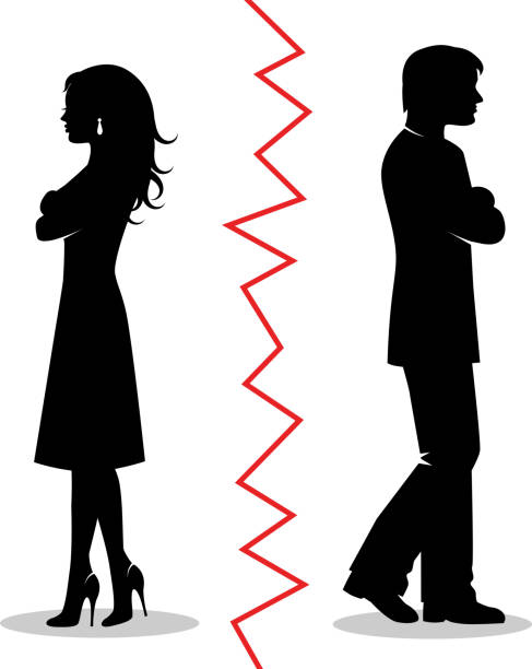 the couple quarreled and turned away from each other silhouettes of a heterosexual couple quarreled and turned away from each other and between the pair a red line boyfriend stock illustrations