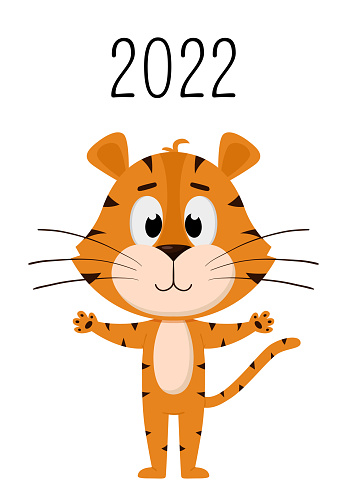 The cover of the Vertical wall calendar for 2022. The symbol of the year in the Chinese calendar. The Year of the Tiger.