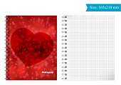 The cover template for Notepad. Size 165mm 210 mm. you Can take and print. Square grid.