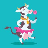 Vector Cartoon Illustration of a comic dancing cow with a rose in her mouth