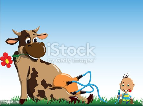 The cow gives milk to the little boy