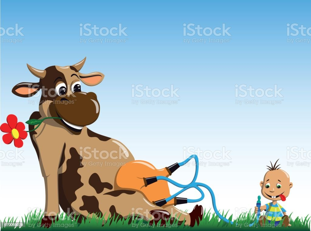 The cow gives milk to the little boy vector art illustration