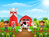 Vector illustration of The cowboy and cowgirl at the farm with animals
