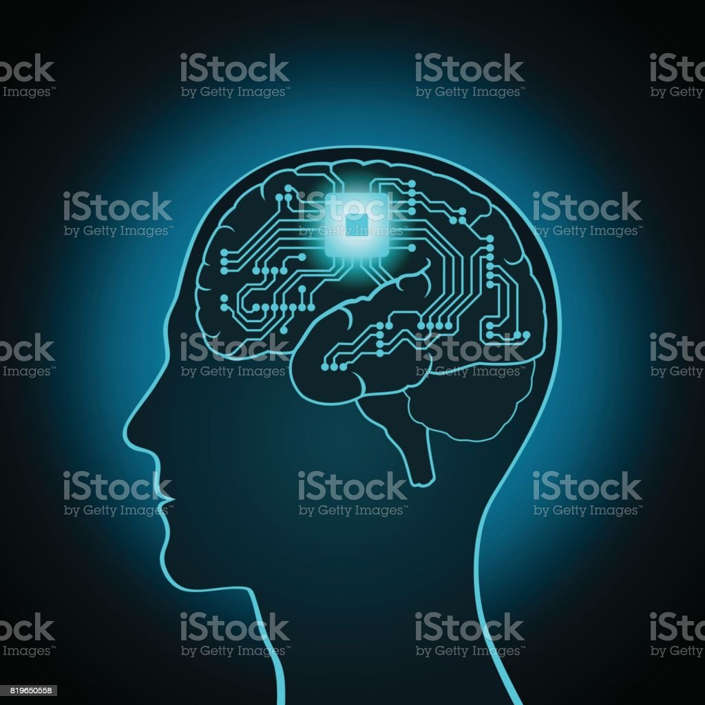 The CPU is installed in the brain, replacing, recovery the mind, consciousness, memory vector art illustration