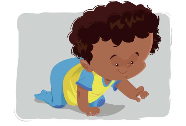 stockillustraties, clipart, cartoons en iconen met de kruipende baby - alleen één jongensbaby