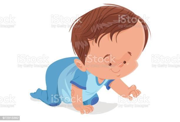 De Kruipende Baby Stockvectorkunst en meer beelden van Alleen baby's