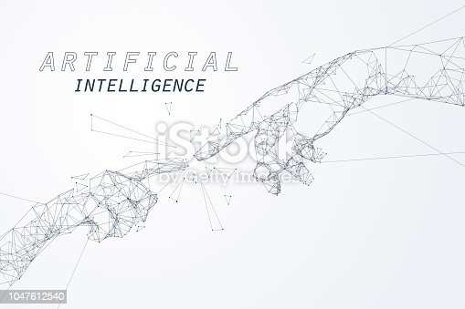 The Creation of AI, the hands going to touch together look like the Michelangelo's art work, artificial intelligence and futuristic technology.