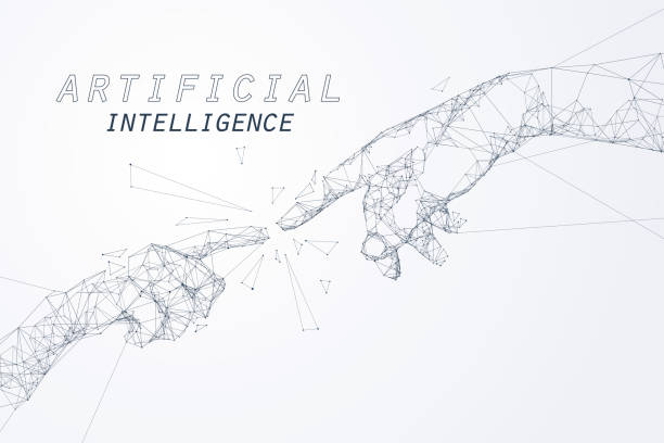 The Creation of AI The Creation of AI, the hands going to touch together look like the Michelangelo's art work, artificial intelligence and futuristic technology. renaissance stock illustrations