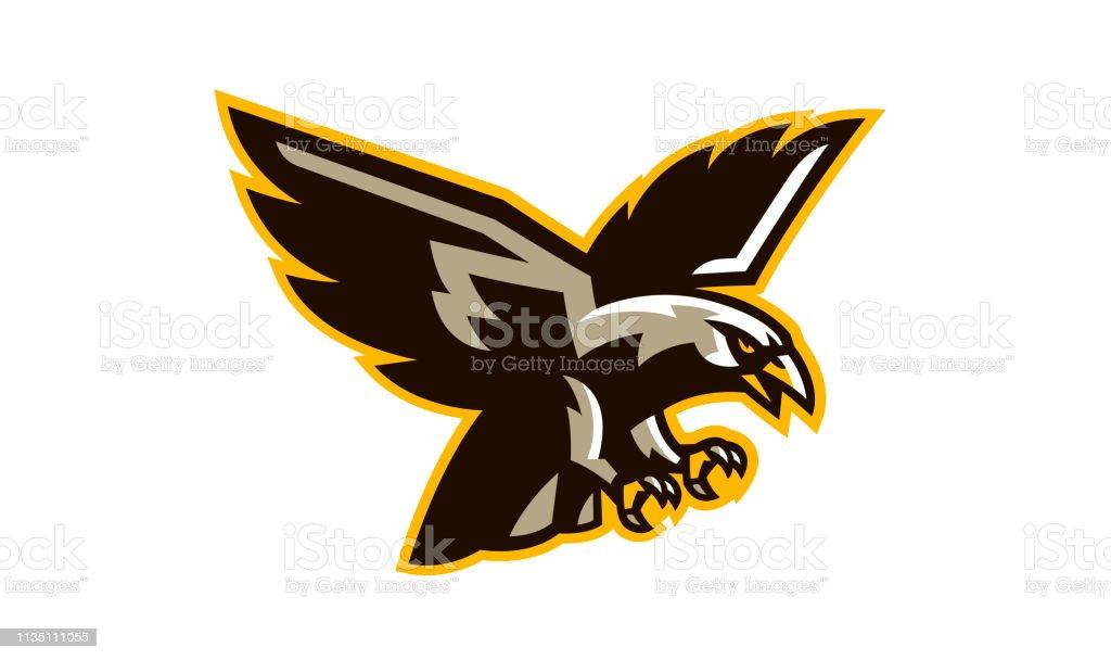 The crest of a flying hawk. A dangerous predator, an animal, a bird,...