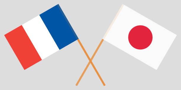 die gekreuzten flaggen für japan und frankreich. offizielle farben. vektor - flagge japan stock-grafiken, -clipart, -cartoons und -symbole