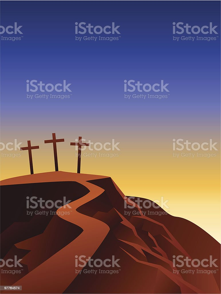 The crosses on the top of the hill vector art illustration